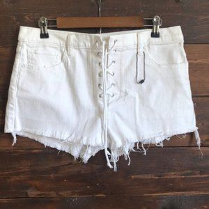 New Express Vintage Mid-Rise lace up Shorts